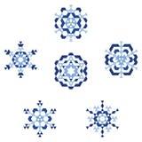 Blauwe sneeuwvlokken Stock Afbeelding