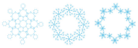 Blauwe sneeuwvlokken op een witte achtergrond Stock Afbeelding