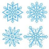 Blauwe sneeuwvlokken Vector Royalty-vrije Stock Afbeeldingen