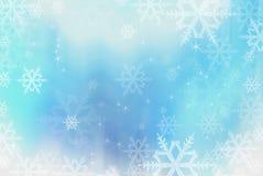 Blauwe sneeuwvlokkenachtergrond Royalty-vrije Stock Afbeelding