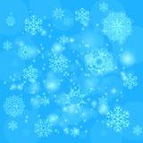 Blauwe sneeuwvlokkenachtergrond Royalty-vrije Stock Fotografie