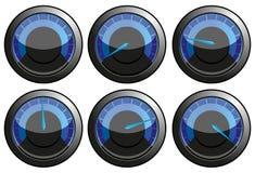 Blauwe snelheidsmeters Stock Foto's