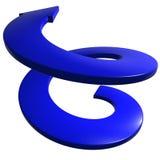 Blauwe spiraalvormige 3D pijl vector illustratie