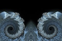 Blauwe spiraalvormige fractals achtergrond Stock Fotografie