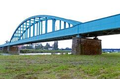 Blauwe spoorwegbrug Royalty-vrije Stock Fotografie