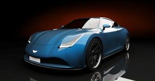 Blauwe sportwagen op zwarte achtergrond Royalty-vrije Stock Foto