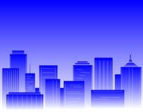 Blauwe stad royalty-vrije illustratie