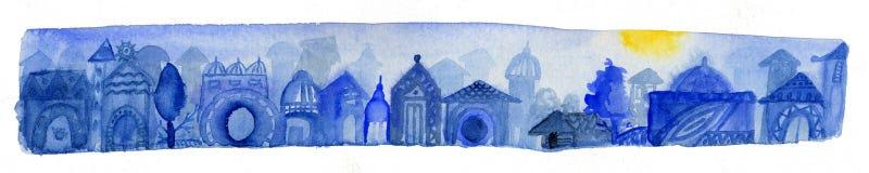 Blauwe stad Royalty-vrije Stock Afbeeldingen