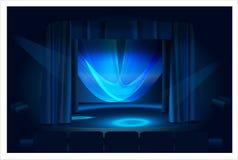Blauwe stadiumdalingen en blauw licht Royalty-vrije Stock Afbeelding