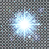 Blauwe ster op een transparante achtergrond Royalty-vrije Stock Fotografie