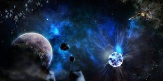 Blauwe sterrige hemelruimte Royalty-vrije Stock Afbeelding