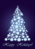 Blauwe sterrige Kerstboom Stock Afbeelding
