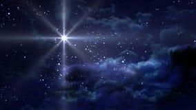 Blauwe Sterrige Nacht Royalty-vrije Stock Afbeeldingen