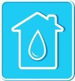 Blauwe sticker met waterdaling en huis Royalty-vrije Stock Foto