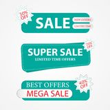 Blauwe Stickers Super Verkoop Vector stock illustratie