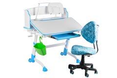 Blauwe stoel, blauwe schoolbank, groene mand en bureaulamp Royalty-vrije Stock Fotografie
