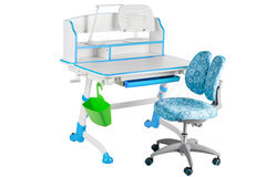 Blauwe stoel, blauwe schoolbank, groene mand en bureaulamp Stock Afbeeldingen