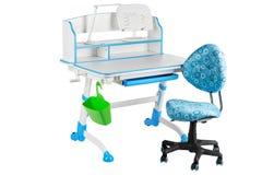 Blauwe stoel, blauwe schoolbank, groene mand en bureaulamp Royalty-vrije Stock Foto