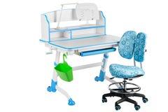 Blauwe stoel, blauwe schoolbank, groene mand en bureaulamp Royalty-vrije Stock Afbeeldingen