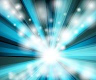 Blauwe straalachtergrond - disco Stock Afbeeldingen