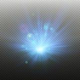 Blauwe Stralen die op donkere transparante achtergrond toenemen Product Reclamemalplaatje Eps 10 vector illustratie