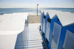 Blauwe strandhutten Royalty-vrije Stock Foto