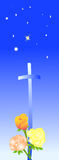 Blauwe strars met rozen en kruis Royalty-vrije Stock Afbeelding