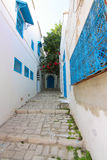 Blauwe straten van Sidi Bou Said in Tunesië Royalty-vrije Stock Afbeelding