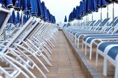 Blauwe sunbeds Royalty-vrije Stock Afbeelding