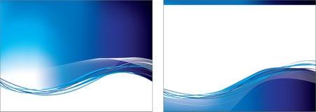 Blauwe swooshreeks van 2 achtergronden Stock Afbeeldingen