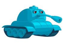Blauwe tank met droevige ogen en verminderde boomstam Stock Afbeeldingen