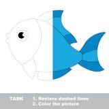 Blauwe te kleuren vissen Vectorspoorspel Stock Afbeelding