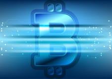Blauwe technologieachtergrond met bitcoinembleem Stock Foto