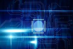 Blauwe technologieinterface met kringsraad Royalty-vrije Stock Afbeeldingen