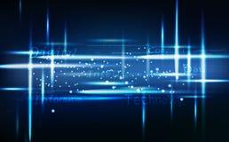 Blauwe technologiesamenvatting, neon gloeiend helder, digitaal bericht met van de rasterlijnenkring vectorillustratie als achterg stock illustratie