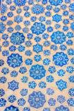 Blauwe tegels in een muur van Samarkand Registan, Oezbekistan Royalty-vrije Stock Foto's
