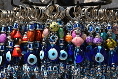 Blauwe tegenhangers met magisch oog Stock Fotografie