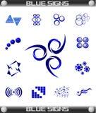 Blauwe Tekens Geplaatst Vector, gemakkelijk Editable. Royalty-vrije Stock Foto's