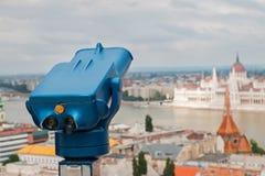 Blauwe telescoop in Boedapest, Hongarije stock afbeeldingen