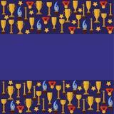 Blauwe templater met sportkoppen Stock Afbeelding