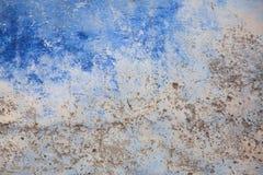Blauwe textuurmuur beschadigd die oud is Royalty-vrije Stock Afbeelding