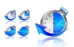 Blauwe tijdopnemerklokken met pijlen Royalty-vrije Stock Afbeeldingen