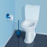 Blauwe toiletruimte met witte ceramische toiletkom Stock Fotografie