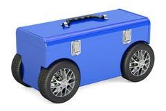 Blauwe toolbox op autowielen, het 3D teruggeven Stock Foto