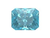 Blauwe topaas. Vierkante vorm. Royalty-vrije Stock Afbeelding