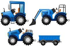 Blauwe tractor en bulldozer vector illustratie