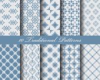 Blauwe traditionele patronen Stock Foto