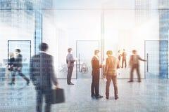 Blauwe transparante bureauzaal, mensendubbel Royalty-vrije Stock Afbeelding