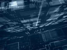Blauwe transparante fantasie futuristische bouw Stock Foto's