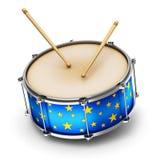 Blauwe trommel met trommelstokken royalty-vrije illustratie